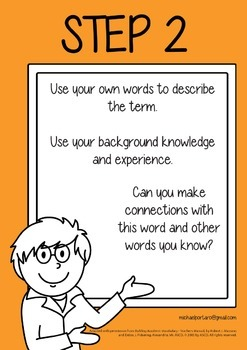 6 Posters to support Robert Marzano's 6 steps to Building Academic Vocabulary
