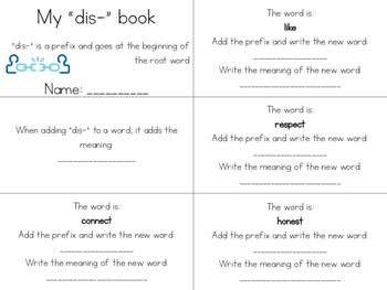 6 Prefix Mini-books (pre-, re-, mis-, mid-,un-, dis-)