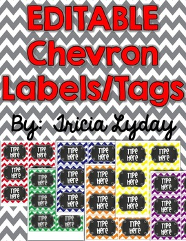 36 CHEVRON & Chalkboard Labels/Tags- EDITABLE with PowerPoint