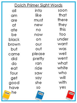 6 Printable Back to School themed Dolch Sight Word Wall Chart Posters.