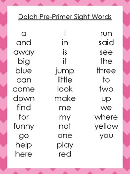 6 Printable Chevron Border Dolch Sight Word Wall Chart Posters.