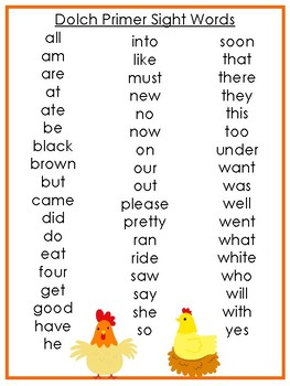 6 Printable Farm themed Dolch Sight Word Wall Chart Posters.