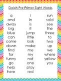 6 Printable Rainbow Border Dolch Sight Word Wall Chart Posters.