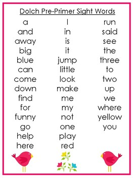 6 Printable Spring themed Dolch Sight Word Wall Chart Posters.