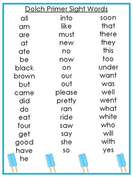 6 Printable Summer themed Dolch Sight Word Wall Chart Posters.