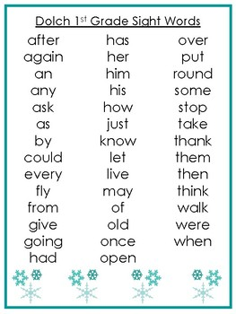 6 Printable Winter themed Dolch Sight Word Wall Chart Posters.