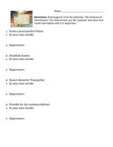 6 Purposes of Government (Preamble/Textbook Assignment)