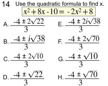 6 Quadratic Formula Assignments for PDF and Socrative
