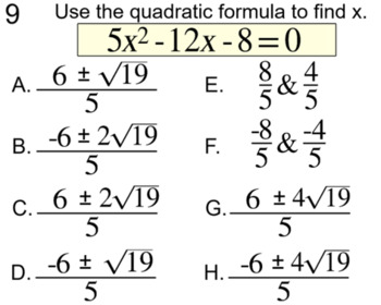 6 Quadratic Formula Assignments for Power Point and Socrative