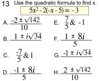 6 Quadratic Formula Assignments for SMART Notebook, Socrative and Response