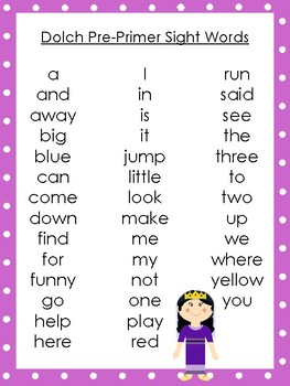 6 Queen Esther themed Dolch Sight Word Lists. Preschool-3rd Grade Reading