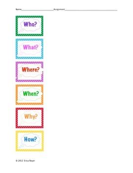 6 Questions Worksheet