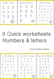 6 Quick Letter and Number Formation Worksheets