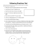 10 Minute Following Directions Test