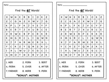 6 R-Controlled Vowels Word Searches (ar, or, er, ir and ur)