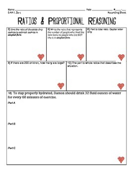 6.RP.1 6.RP.2 6.RP.3 Ratio Lesson - Tiered Activity