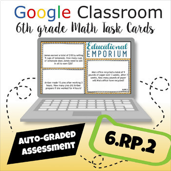 ⭐ GOOGLE CLASSROOM ⭐ 6.RP.2 Task Cards ⭐ Unit Rates of Ratios