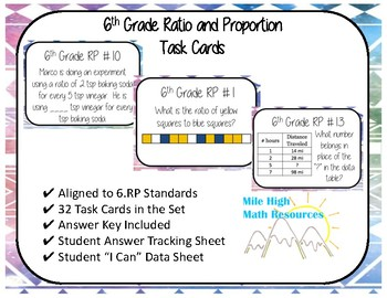 6th Ratio and Proportion Task Cards