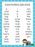6 Resurrection themed Dolch Sight Word Lists. Preschool-3rd Grade Reading