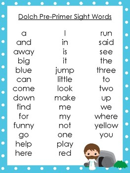 6 Resurrection themed Dolch Sight Word Lists. Preschool-3rd Grade Reading