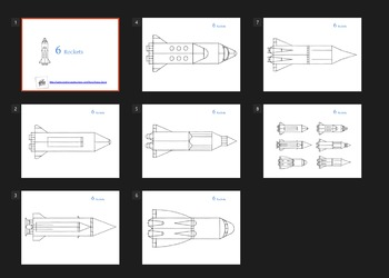 6 Rockets ( Coloring Sheets )