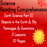 Earth Science Reading Comprehension Passages | Objects in the Sky