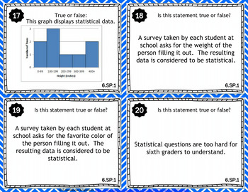 6.SP.1 Task Cards: Statistical Questions, 6.SP.1 Centers