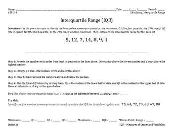 6.SP.3, 4 - Interquartile Range - Identifying the 5 Measures in Stats (Lesson)