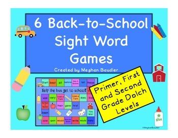 6 Sight Word Board Games (Primer, First Grade, Second Grade)
