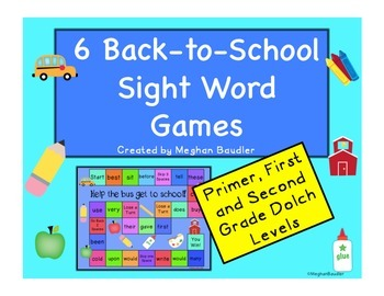 6 Sight Word Board Games (Primer, First Grade, Second Grade)