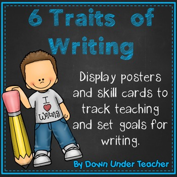 6 Six Traits of Writing VOICES Bulletin Board headers and skill cards