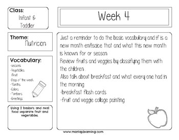 6 Spanish weekly lesson plans for todller and infant