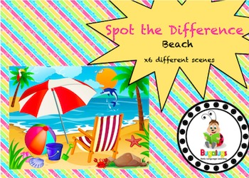 6 Spot the Difference beach scenes targeting specific vocabulary