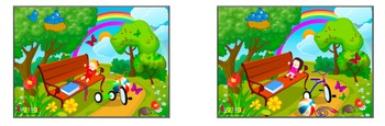 6 Spot the Difference park scenes targeting specific vocabulary