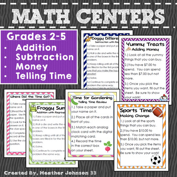 Math Centers: Money, Addition, Subtraction, Telling Time, Elapsed Time
