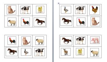 6-Square Farm Animal Bingo