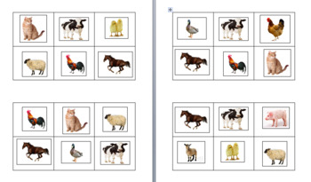 Small, 6-Square Farm Animal Bingo