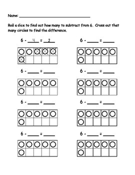 6 Subtraction Roll
