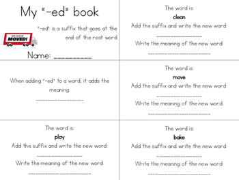 8 Suffix Mini-books (-er, -ed, -ing, -ly, -ful, -less, -ible, -able)