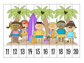 6 Summer Number Order Puzzles {FREEBIE}