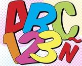 6 Super Hero Alphabets • 88 300 DPI PNGs • Latin-Spanish Glyphs • 8 Super Bursts