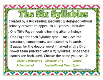 6 Syllable Types Posters/Visuals ~ Multi-Sensory Reading O