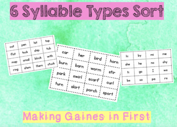 6 Syllable Types Sort