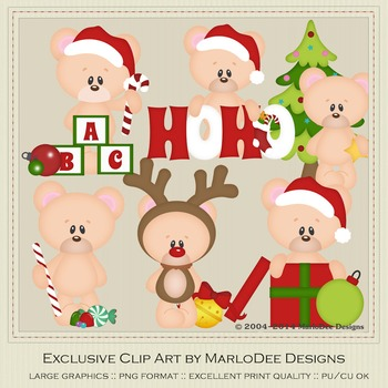 6 Teddy Bears of Christmas Clipart Graphics Set 2