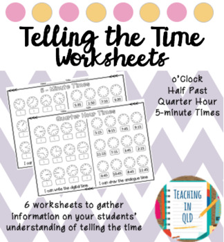 6 telling time worksheets by teaching in qld teachers pay teachers 6 telling time worksheets ibookread ePUb