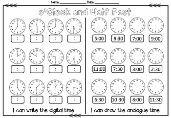 6 Telling Time Worksheets