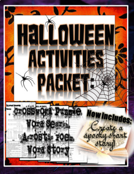 "Halloween Activities: Acrostic Poem, Crossword Puzzle, Word Search, ""Mad Libs"""