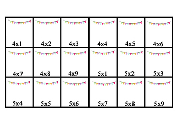 6 Themed Multiplication Mats