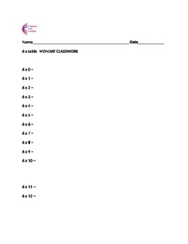 6 Times Table Weekly Classwork, Homework + Assessment with Multiplication Chart