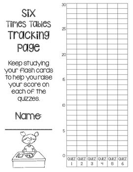 6 Times Tables Multiplication Fluency- 6 Quizzes with Self-Monitoring Graph